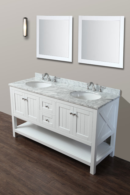 "Beach Style Bathroom Vanity Emily 60"" Bathroom Vanity Cottage Style - White - Beach"
