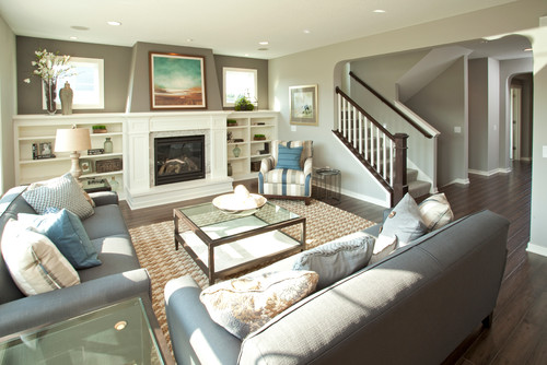 Is the fireplace wall a different color than the mindful gray? - mindful gray living room
