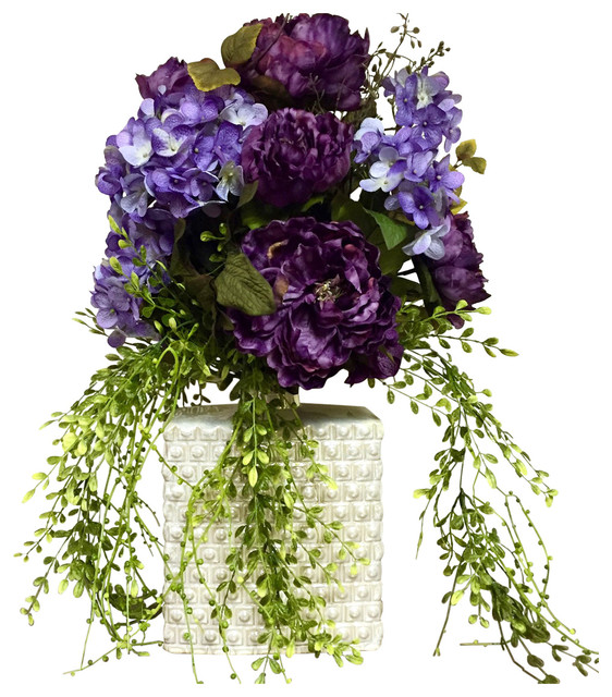 Modern Floral Arrangement Centerpiece Purple Peony Hydrangea Mother