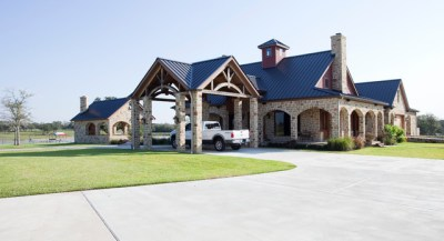Rustic Timber Frame Home on TX Ranch - Traditional - Exterior - Houston - by Texas Timber Frames