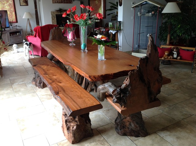 Rustic Live Edge Redwood Dining Table With Rustic Chairs