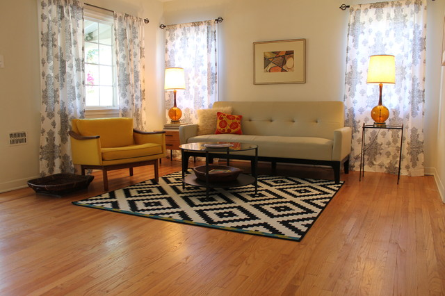 Mid Century Modern Living Room with B\W Rug - Midcentury - Living - living room rugs modern