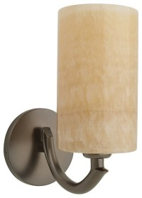 Bronze and Onyx Cylindrical Wall Sconce - Transitional ...