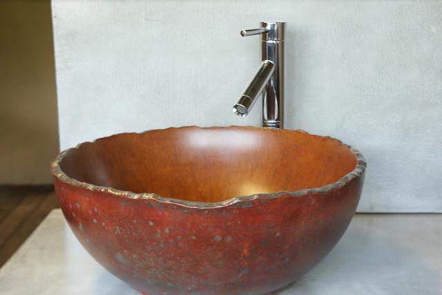 Concrete Vessel Sink Eclectic Bathroom Sinks