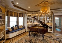 Baby Grand piano Living room window view, teddy car in ...