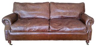 100 Leather Sofa With Decorative Nails Down Feather