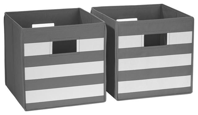 Folding Storage Bin Set With White Stripes Set Of 2