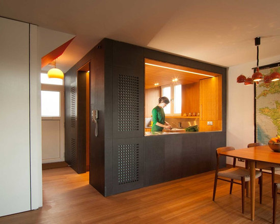 small contemporary shaped kitchen design ideas remodels photos small contemporary shaped eat kitchen idea moscow flat