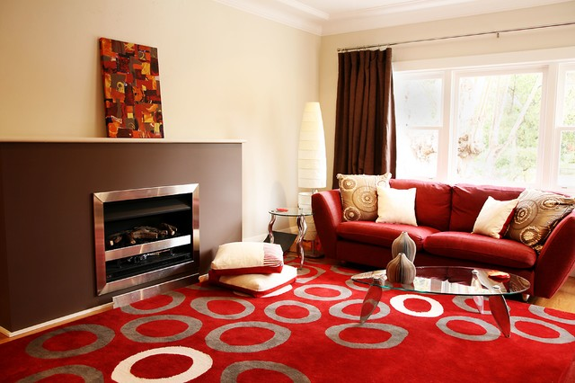 Red and Brown Living Room - Contemporary - Living Room - Sydney - red and brown living room