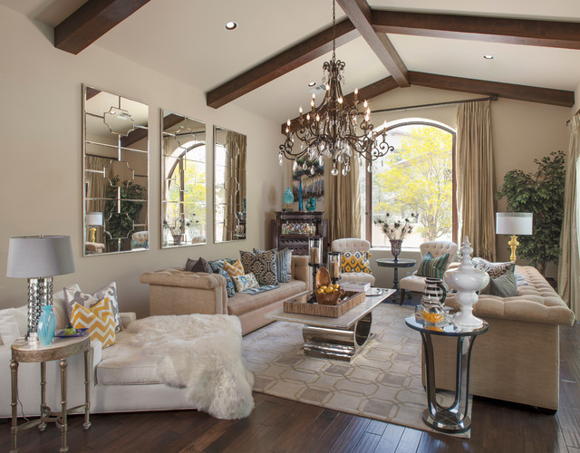 Chesterfield Sofa Beige Spanish Colonial Glam - Transitional - Living Room