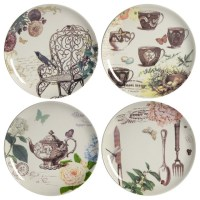 Tea Party Ceramic Plates, Set of 4 Different Plates