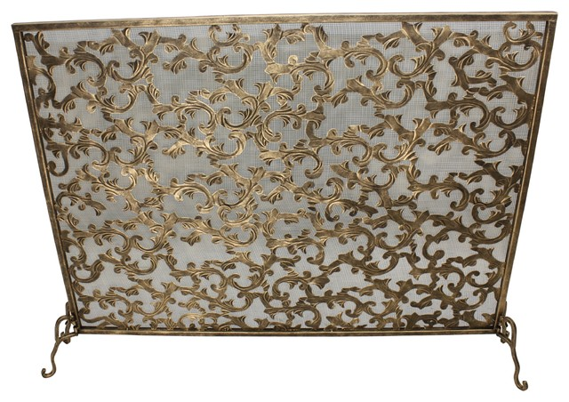 Light Burnished Gold Acanthus Leaf Fire Screen by Dr Livingstone I