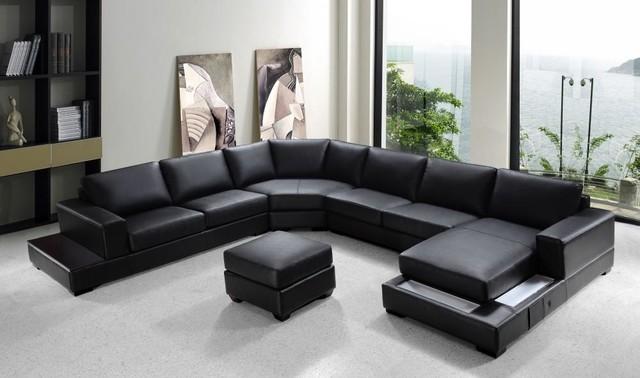 Modern Black Bonded Leather Sectional Sofa Set - Modern - Living - modern living room set
