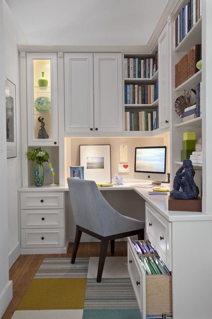 Painted Maple Corner Office - Armonk, NY traditional-home-office