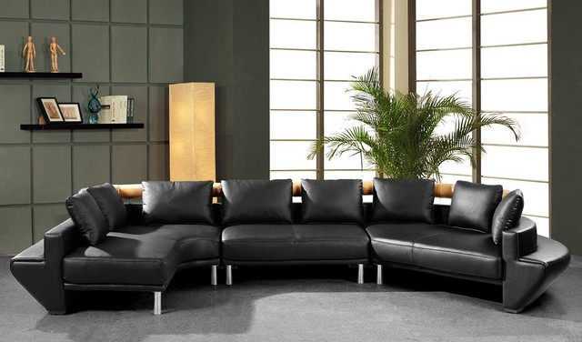Contemporary Curved Sectional Sofa in Black Leather - Modern - contemporary curved sofa