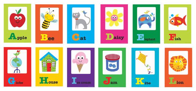 A-Z Alphabet Card Print Set - Contemporary - Kids Wall Decor - by