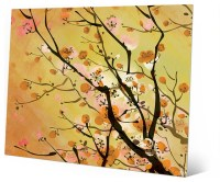 Japanese Floral Cherry Branch in Yellow - Sepia Wall Art ...