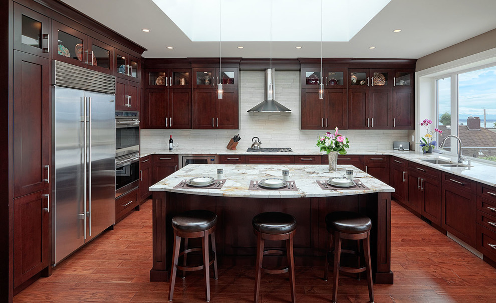 Open And Modern Chocolate Brown Kitchen Transitional