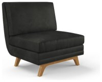 Calhoun Leather Armless Chair - Brighton Black Black ...