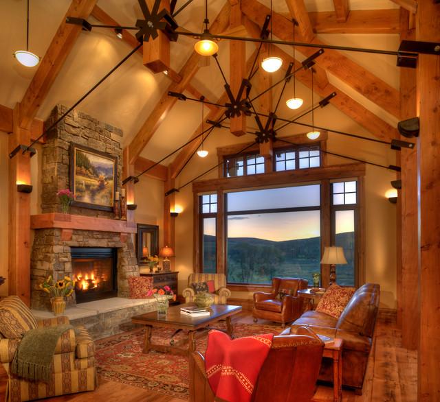 Lodge At Trout Creek Great Room - Rustic - Living Room - Denver
