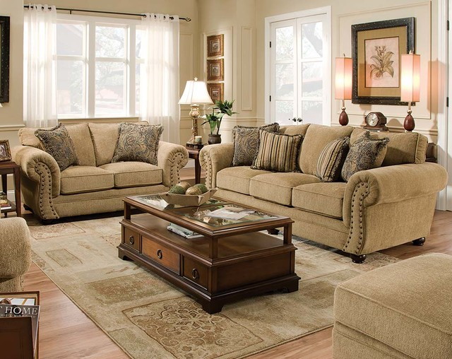 Outback Antique Sofa and Loveseat - Traditional - Living Room - american freight living room sets