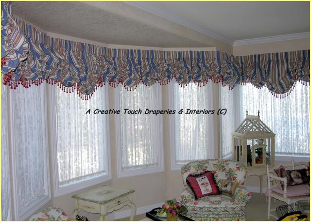 Bay window balloon Valances - Traditional - Living Room - Denver - valances for living room