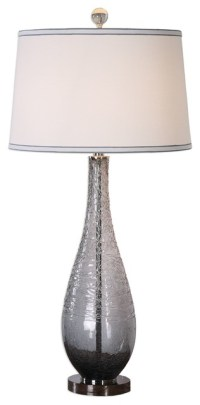 Spun Gray Glass Crackled Table Lamp, Charcoal Tall Drum