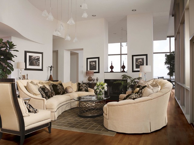 Transitional Style Living Room Photos - Nakicphotography - transitional style living room