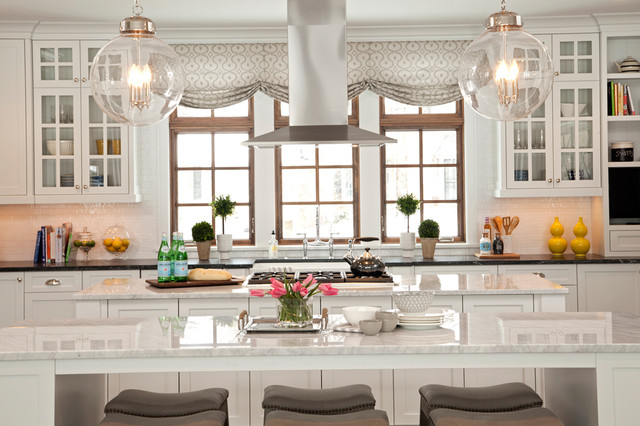 Eat At Kitchen Islands Lake View Luxury Home - Transitional - Kitchen