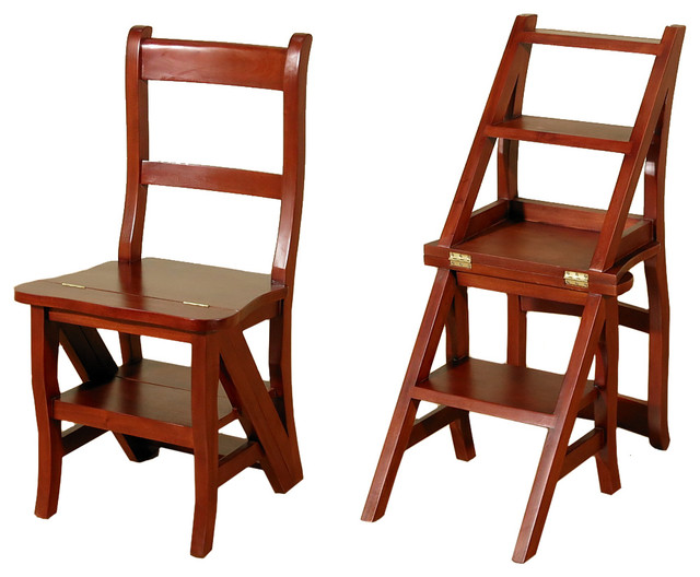 Cherry Convertible Ladder Chair Office Home Library Step