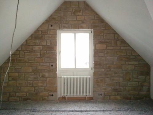 Tipps für passende Wandfarbe im Arbeitszimmer mit Steinwand - schrage steinwand wohnzimmer