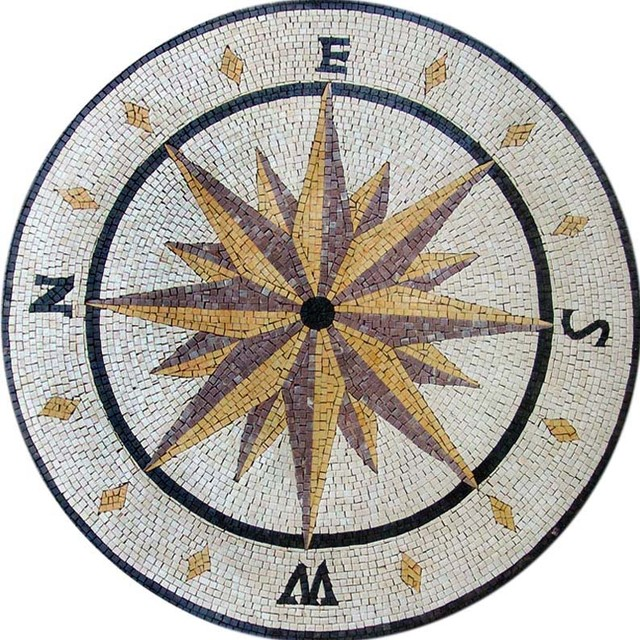 Mosaic Compass Design - Round Stone - Traditional - Tile Murals - by