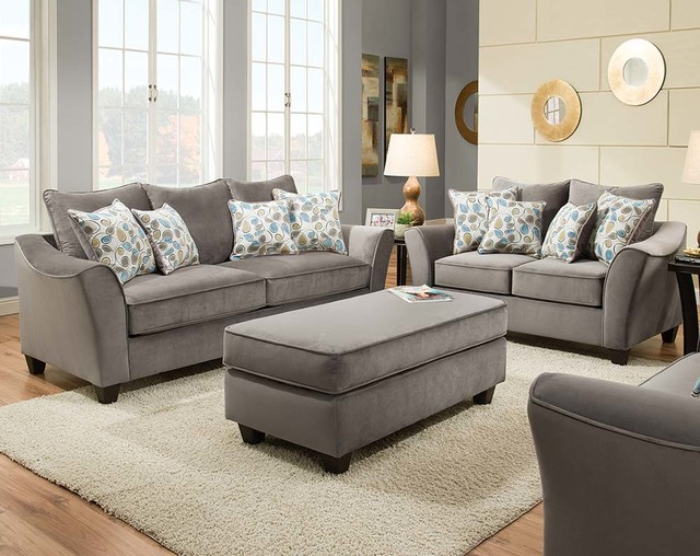Bella Gray Sofa and Loveseat - Traditional - Living Room - american freight living room sets
