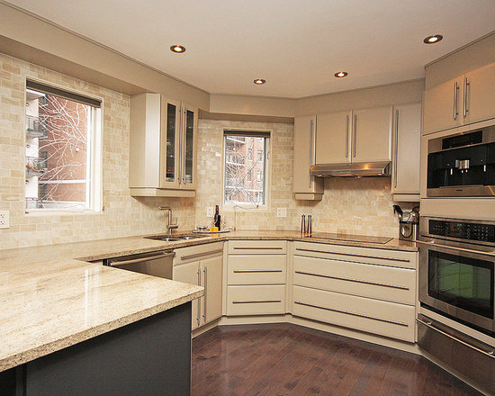 small shaped kitchen design ideas remodels photos beige small contemporary shaped eat kitchen idea moscow flat