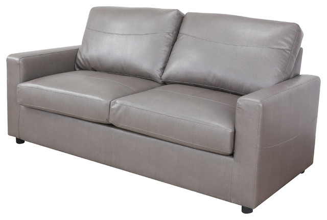 Sofamania Bonded Leather Living Room Sleeper / Pull Out Sofa And Bed