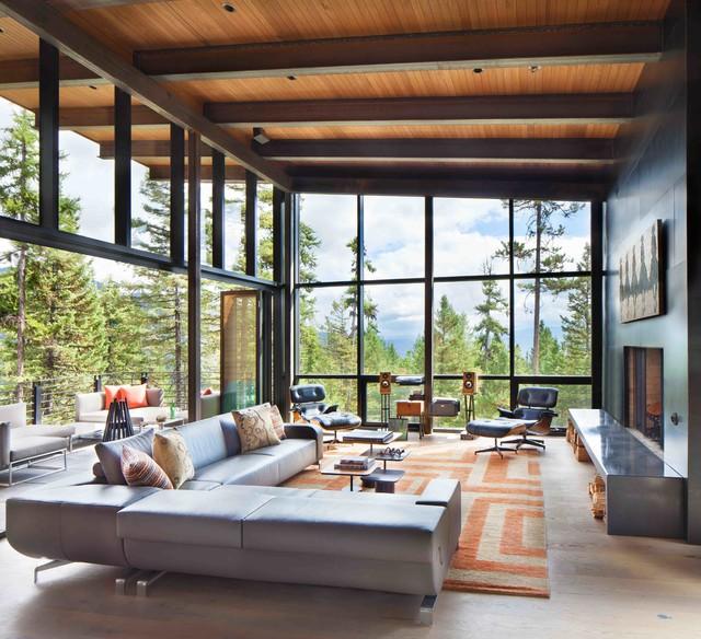 Mountain side Modern Nest rustic-living-room