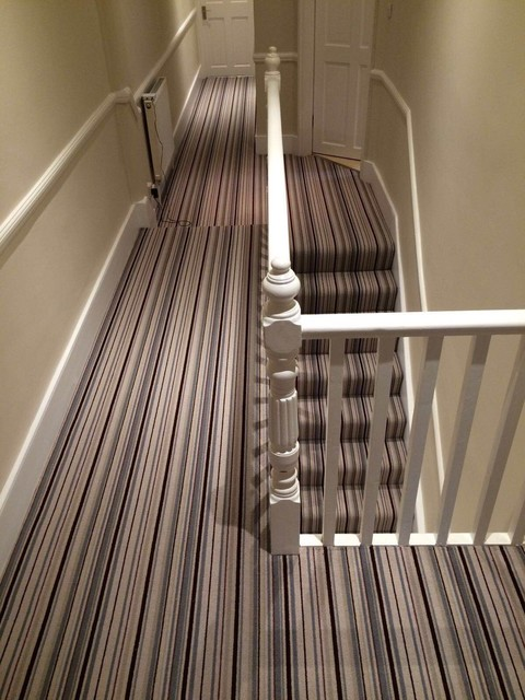 Grape Grey Stripe Stair And Hallway Carpet Victorian