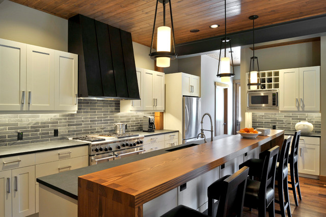 Small Kitchens With Islands For Seating Suncadia Residence, Washington - Transitional - Kitchen