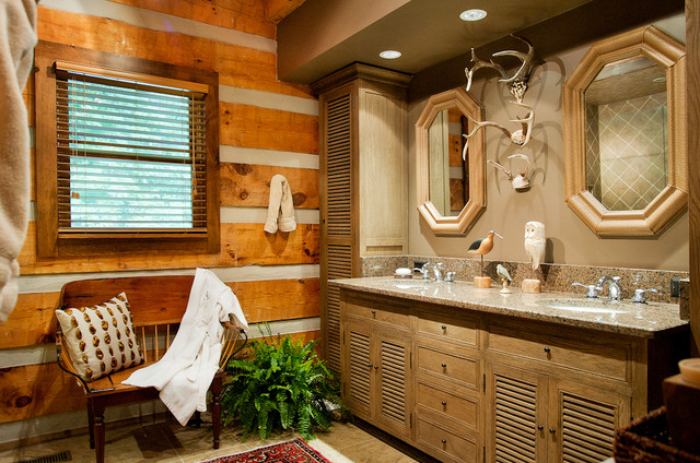 Faux Kitchen Cabinet Doors Log Cabin Bath - Traditional - Bathroom - Nashville - By
