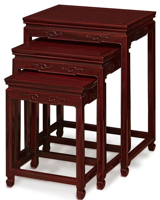 Rosewood Key Design Nesting Table - Asian - Side Tables And End