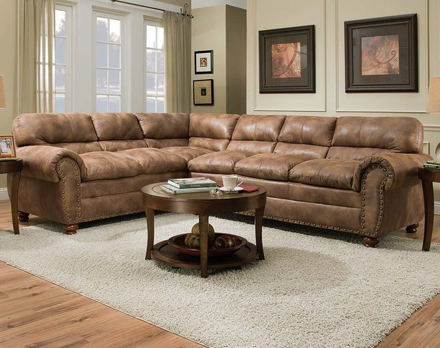 Rochester Hazelnut Two Piece Sectional Sofa - Contemporary - two piece living room set
