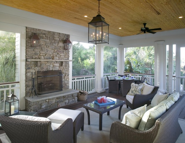 Screened Porch Features Outdoor Fireplace Clasico