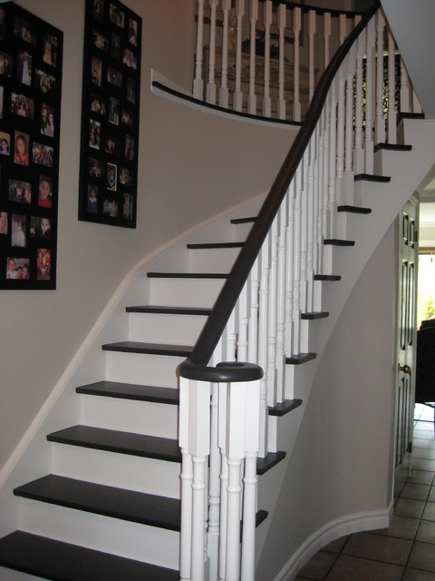 Grey White Staircase Black and white stairs - Traditional - Hall - Toronto - by ...