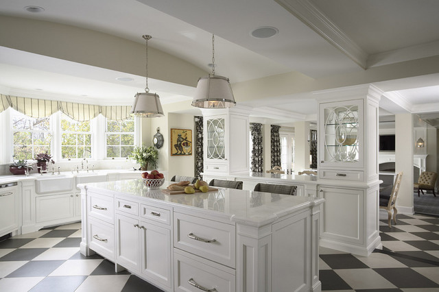 Kitchen Island And See Through Glass Cabinets - Traditional