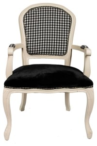 Ivory French Louis Armchair, Black Gingham - Armchairs ...