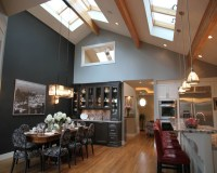 Open Concept Kitchen & Dining Area With A Vaulted Ceiling ...