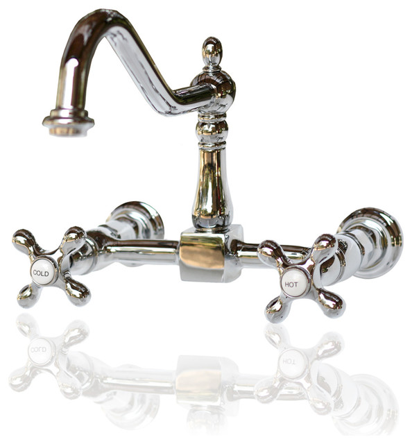 Kingston Brass KS1241AX Sculptural Polished Chrome Wall Mount - wall mount kitchen faucet