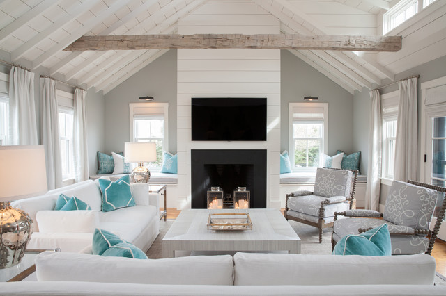 Light and bright while honoring gray - beach style living room