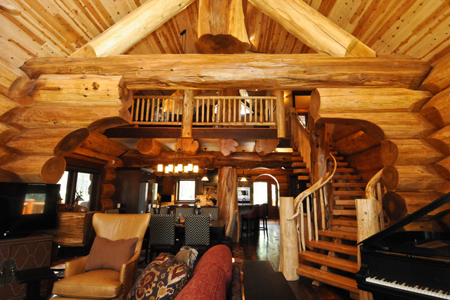2013 Parade Home Moose Ridge Cabin Log Home - Rustic - Living Room - log cabin living rooms