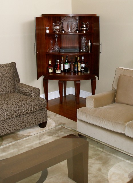 INSIDE the curved mahogany corner cabinet \/ dry bar - Contemporary - living room bar furniture
